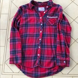 Justice Red Plaid Flannel Like Button Down Shirt